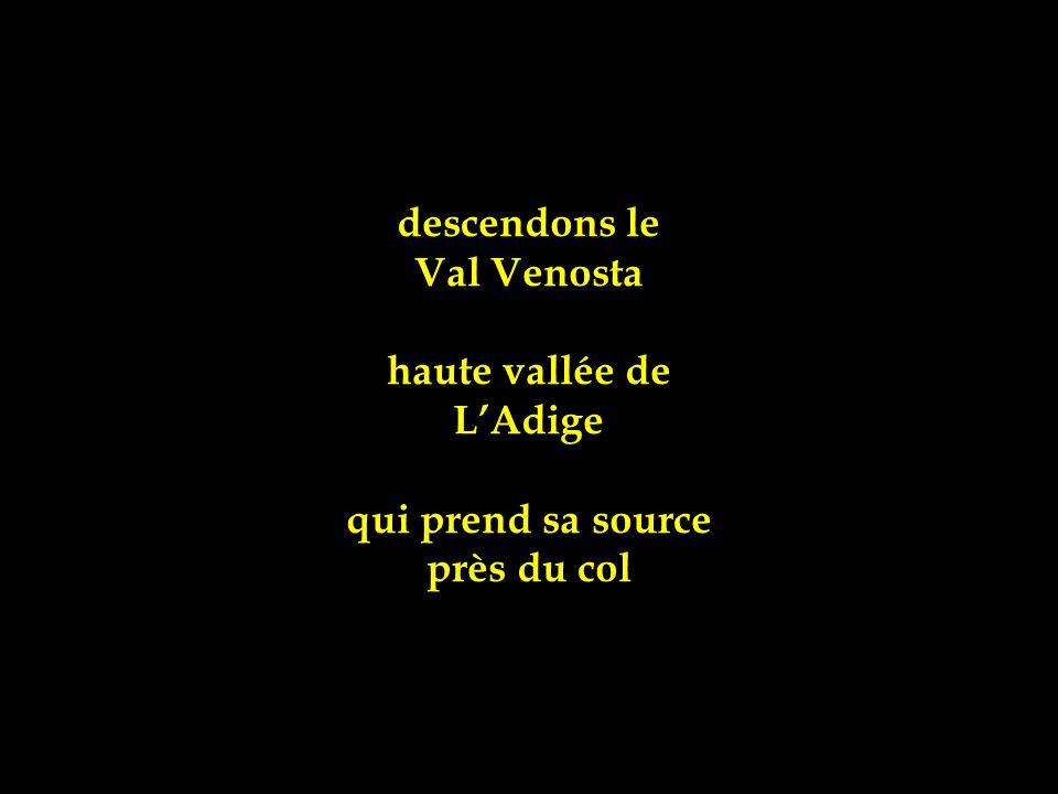 descendons le Val Venosta haute vallée de L'Adige qui prend sa source près du col