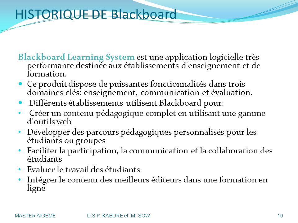 HISTORIQUE DE Blackboard II- Présentation Historique de Blackboard: