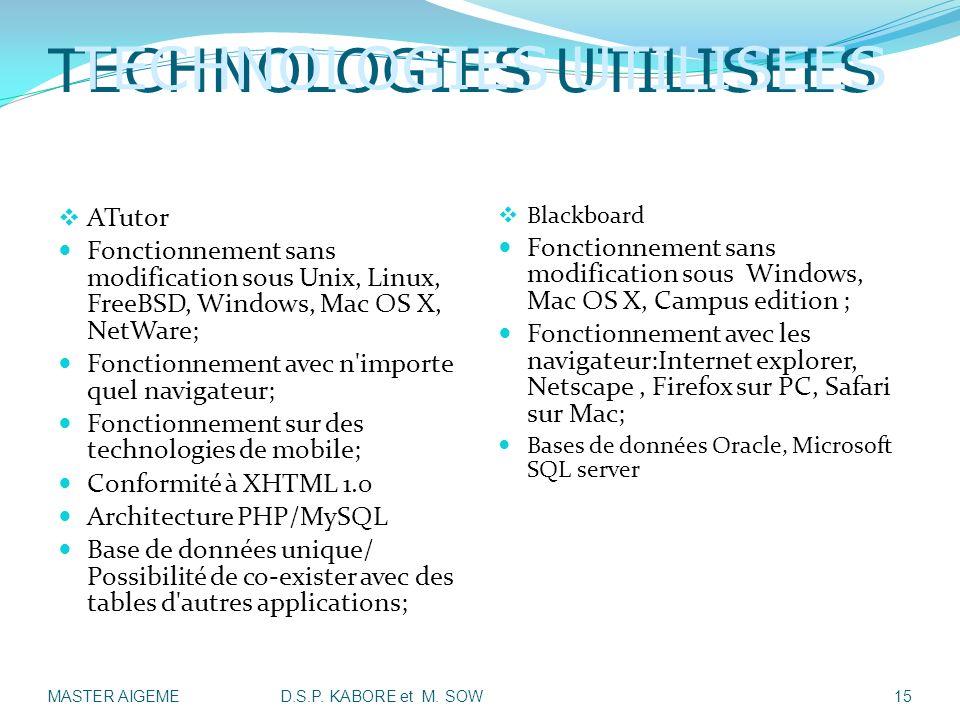 TECHNOLOGIES UTILISEES