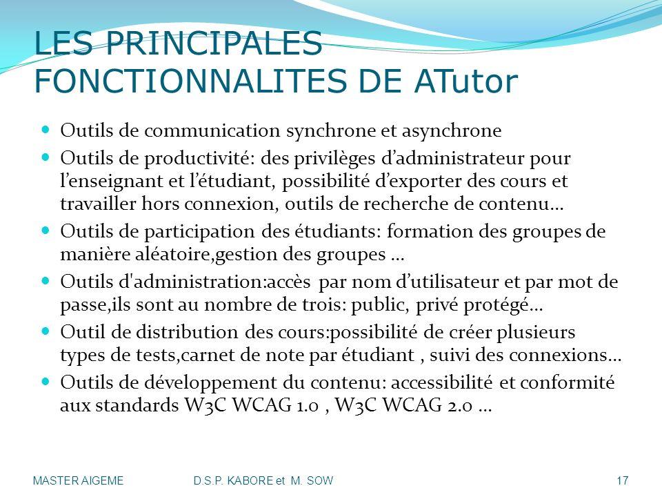 LES PRINCIPALES FONCTIONNALITES DE ATutor