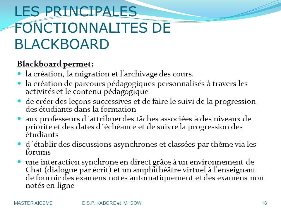 LES PRINCIPALES FONCTIONNALITES DE BLACKBOARD