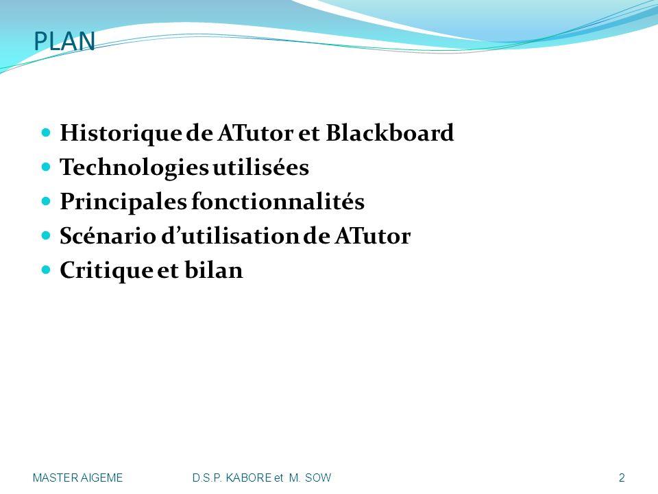 PLAN Historique de ATutor et Blackboard Technologies utilisées