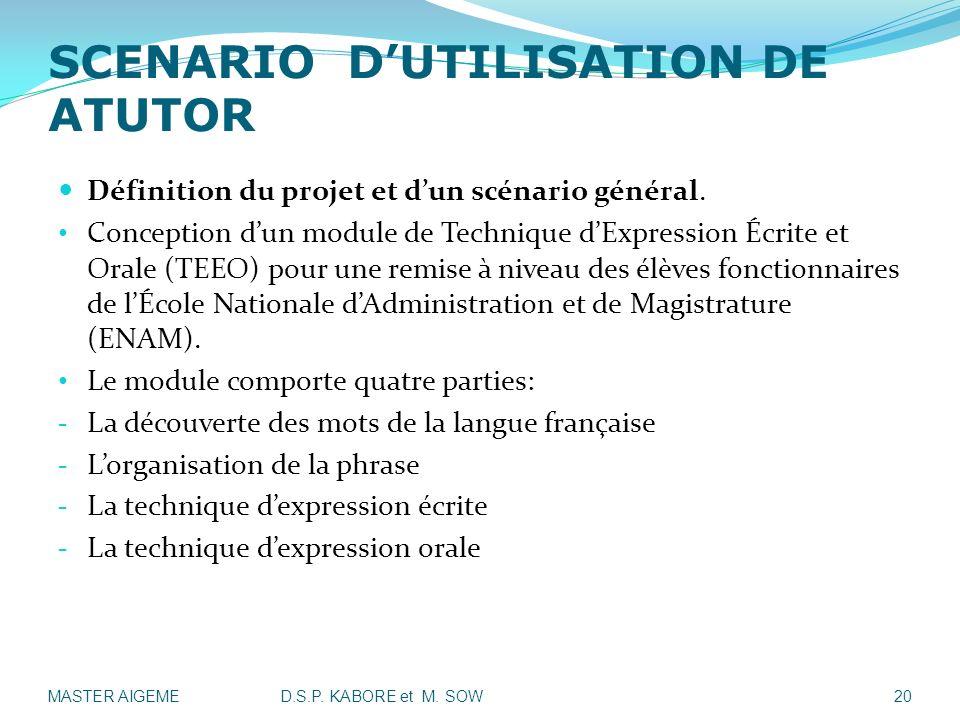 SCENARIO D'UTILISATION DE ATUTOR