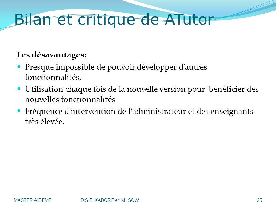 Bilan et critique de ATutor