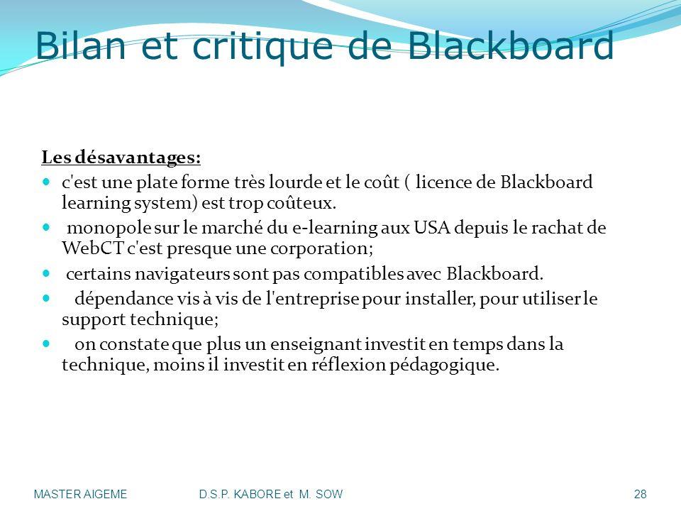 Bilan et critique de Blackboard