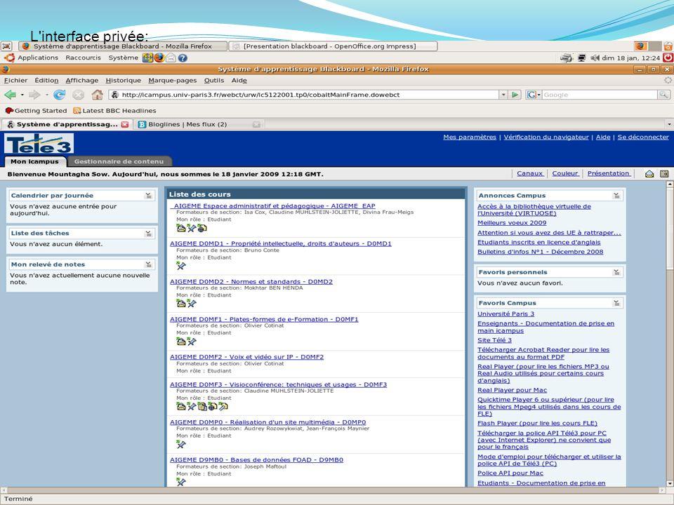 L interface privée: MASTER AIGEME D.S.P. KABORE et M. SOW