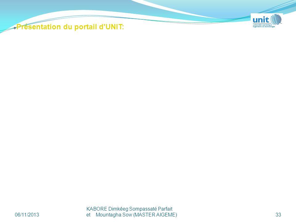Présentation du portail d UNIT: