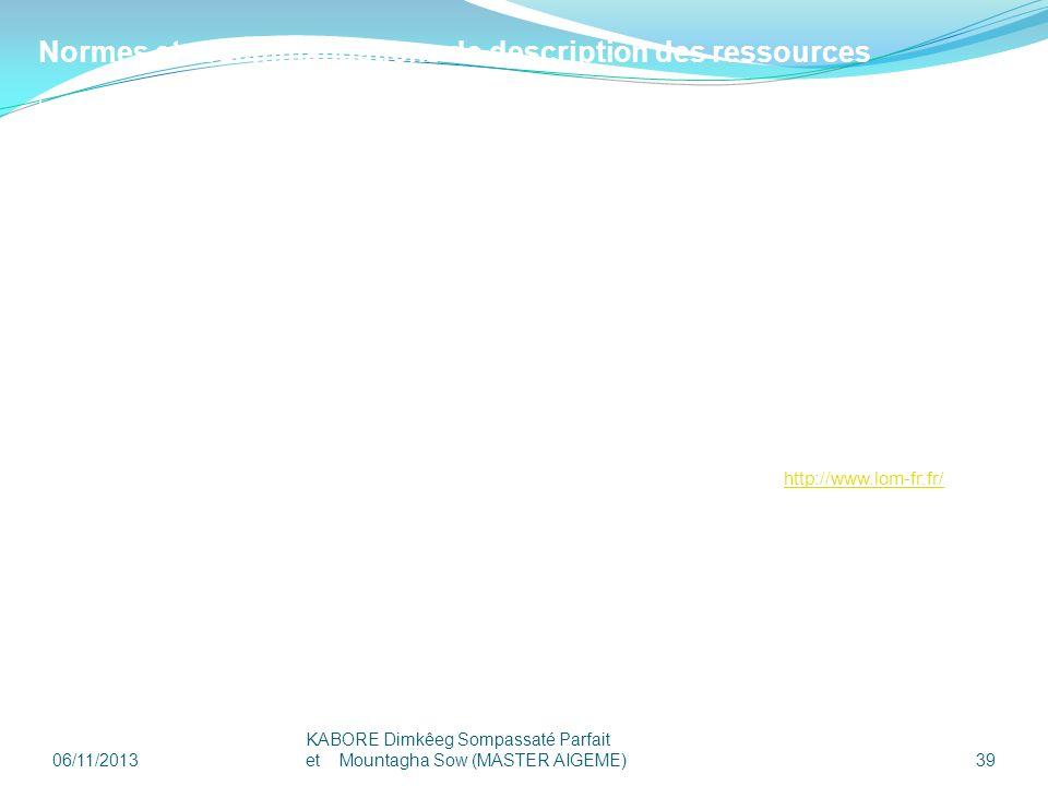 Normes et recommandations de description des ressources