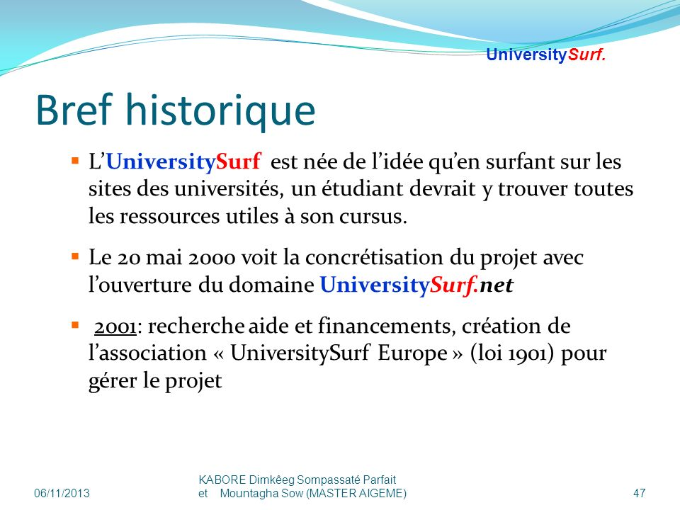 25/03/2017UniversitySurf.net. Bref historique.