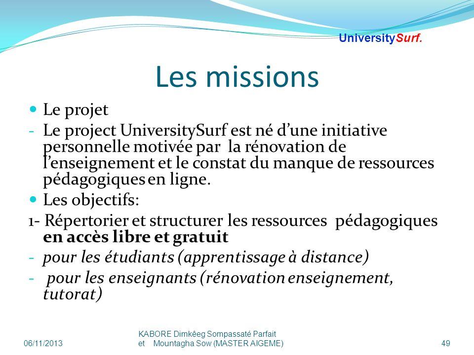 25/03/2017 UniversitySurf.net. Les missions. Le projet.