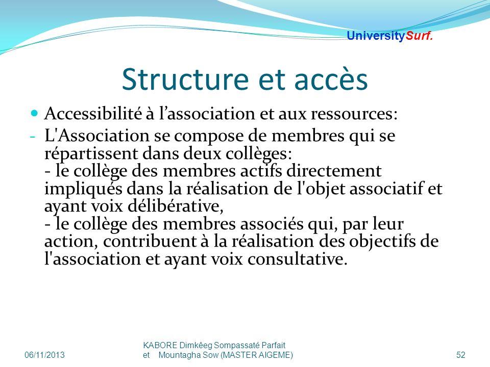 Structure et accès Accessibilité à l'association et aux ressources: