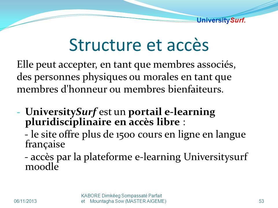 Structure et accès Elle peut accepter, en tant que membres associés,