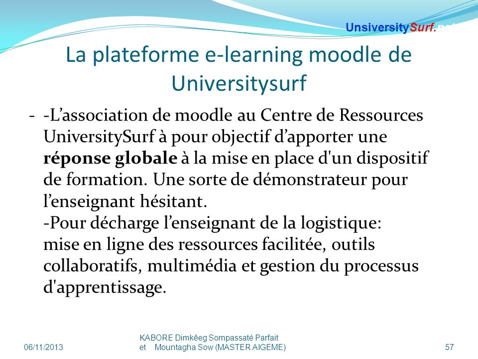 La plateforme e-learning moodle de Universitysurf