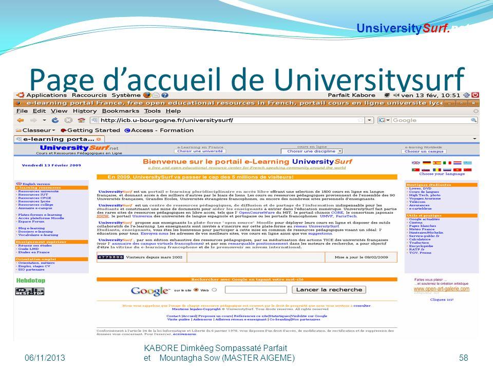 Page d'accueil de Universitysurf
