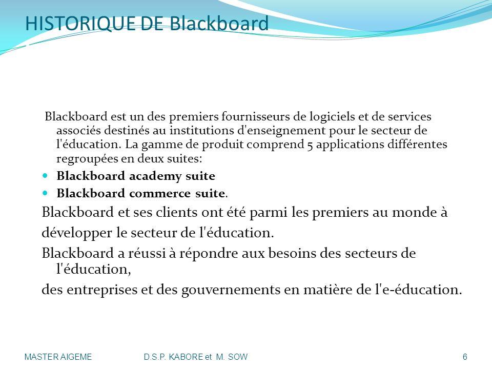 HISTORIQUE DE Blackboard I-Présentation de la société: