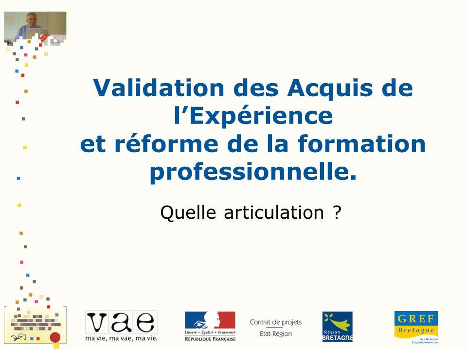 Validation des Acquis de l'Expérience et réforme de la formation professionnelle.