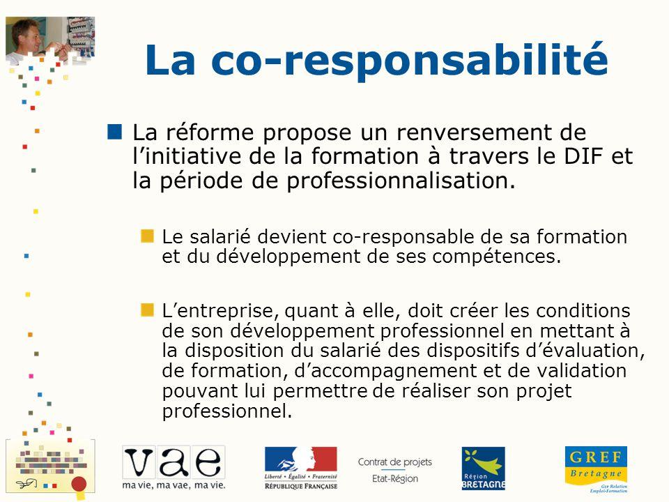 La co-responsabilité La réforme propose un renversement de l'initiative de la formation à travers le DIF et la période de professionnalisation.