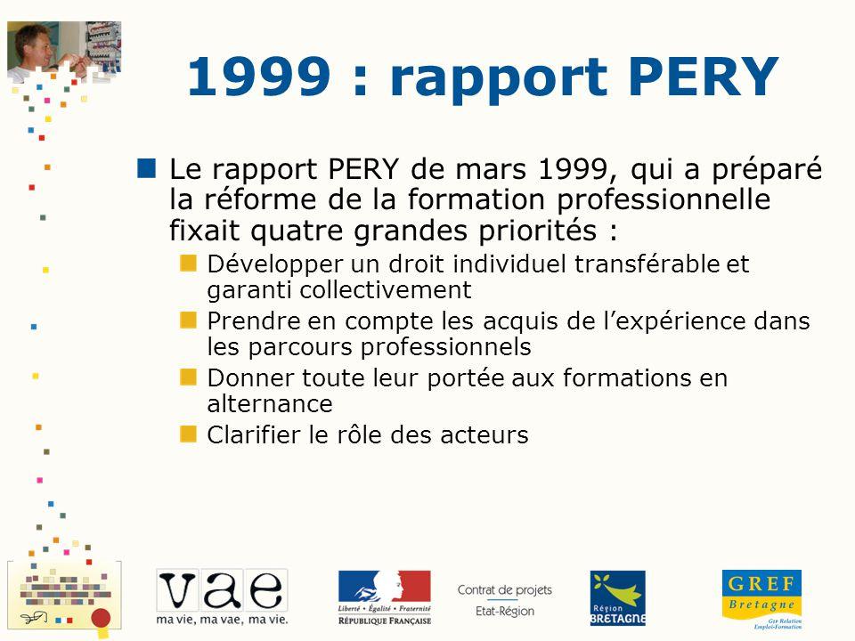 1999 : rapport PERY Le rapport PERY de mars 1999, qui a préparé la réforme de la formation professionnelle fixait quatre grandes priorités :