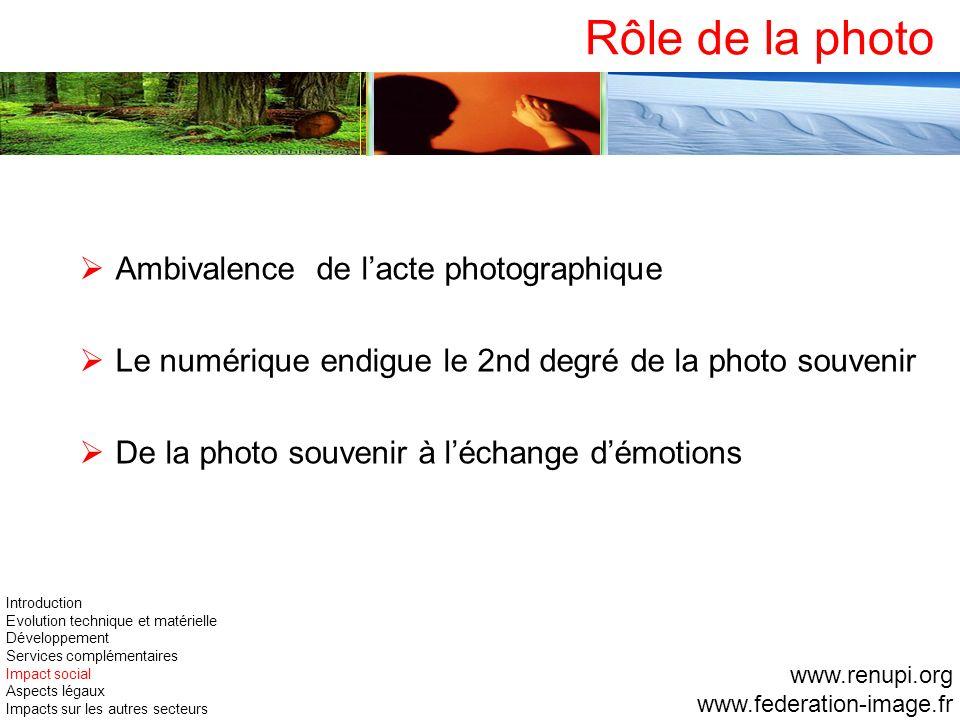 Rôle de la photo Ambivalence de l'acte photographique