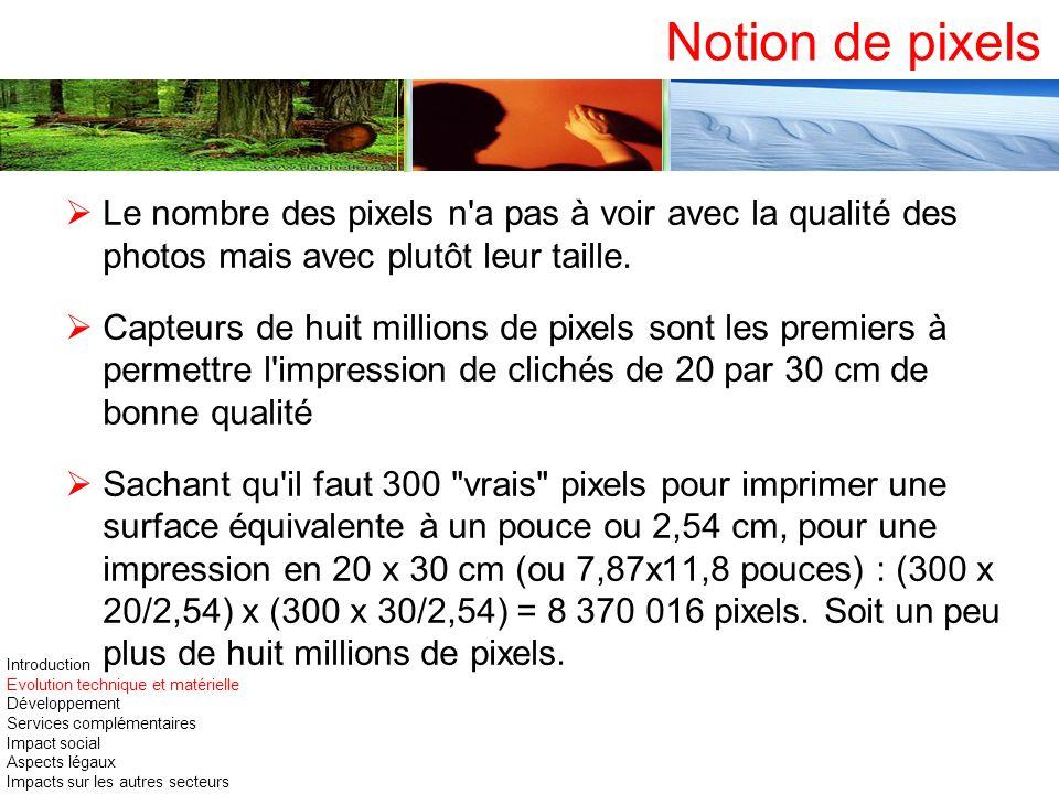 Notion de pixelsLe nombre des pixels n a pas à voir avec la qualité des photos mais avec plutôt leur taille.