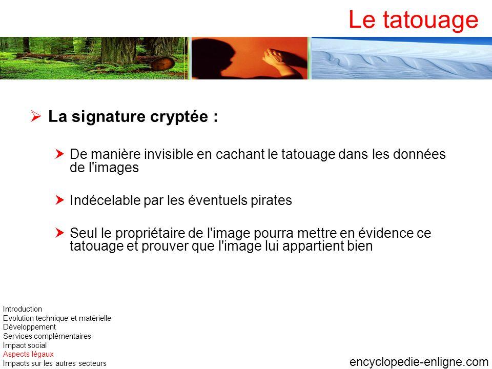 Le tatouage La signature cryptée :