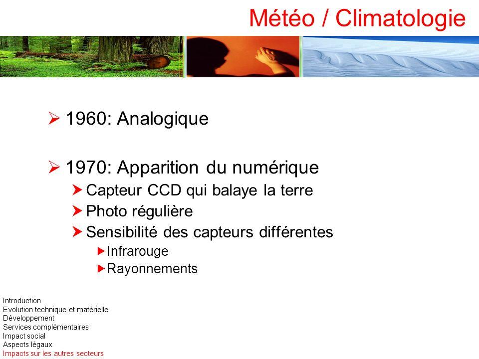 Météo / Climatologie 1960: Analogique 1970: Apparition du numérique