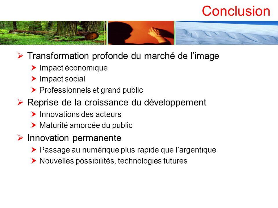 Conclusion Transformation profonde du marché de l'image