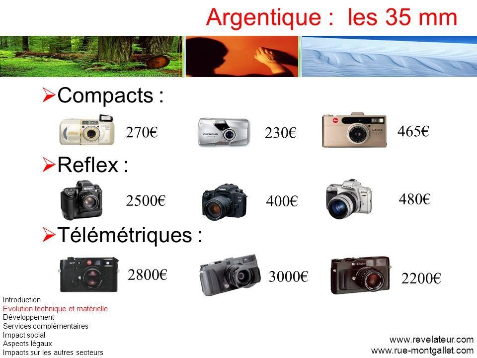Argentique : les 35 mm Compacts : Reflex : Télémétriques : 270€ 230€