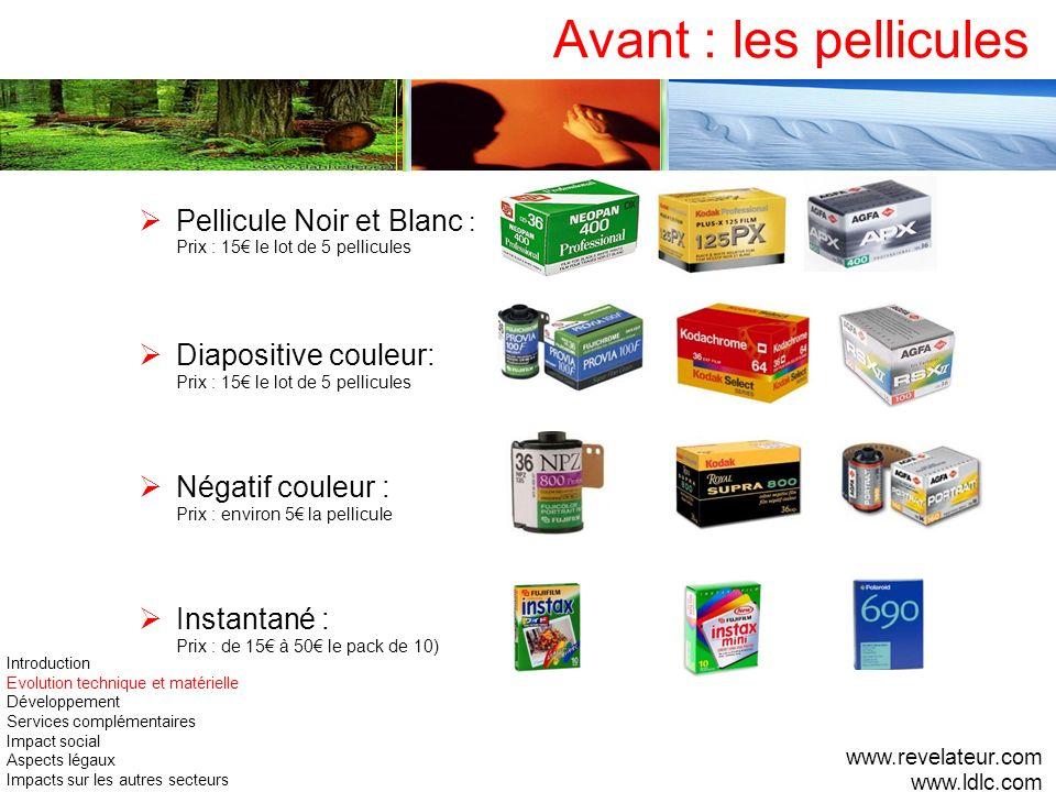 Avant : les pelliculesPellicule Noir et Blanc : Prix : 15€ le lot de 5 pellicules. Diapositive couleur: Prix : 15€ le lot de 5 pellicules.