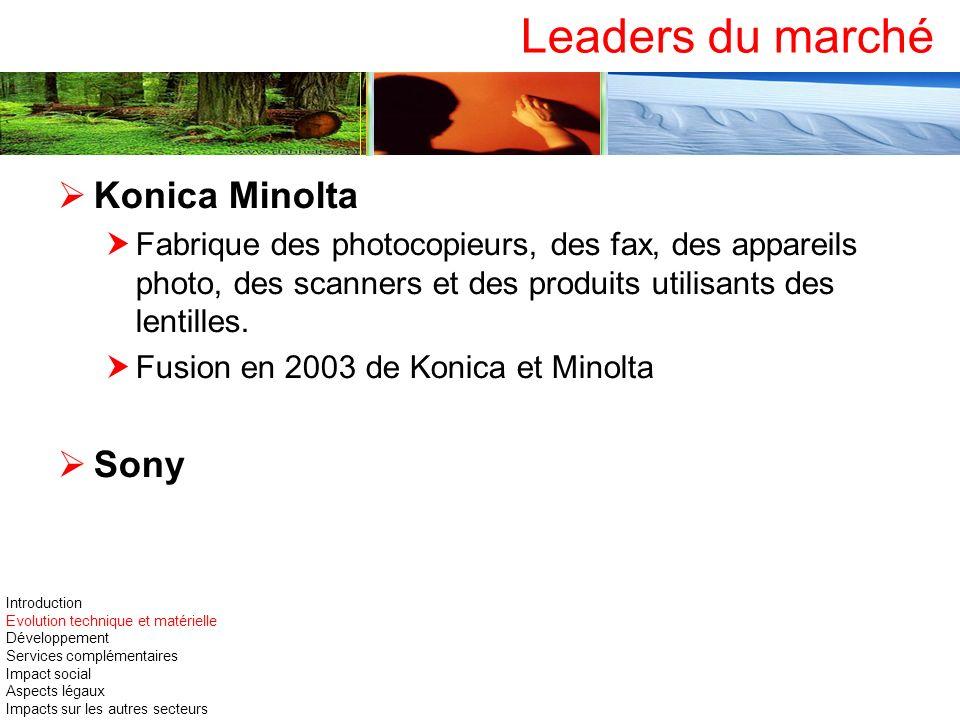 Leaders du marché Konica Minolta Sony