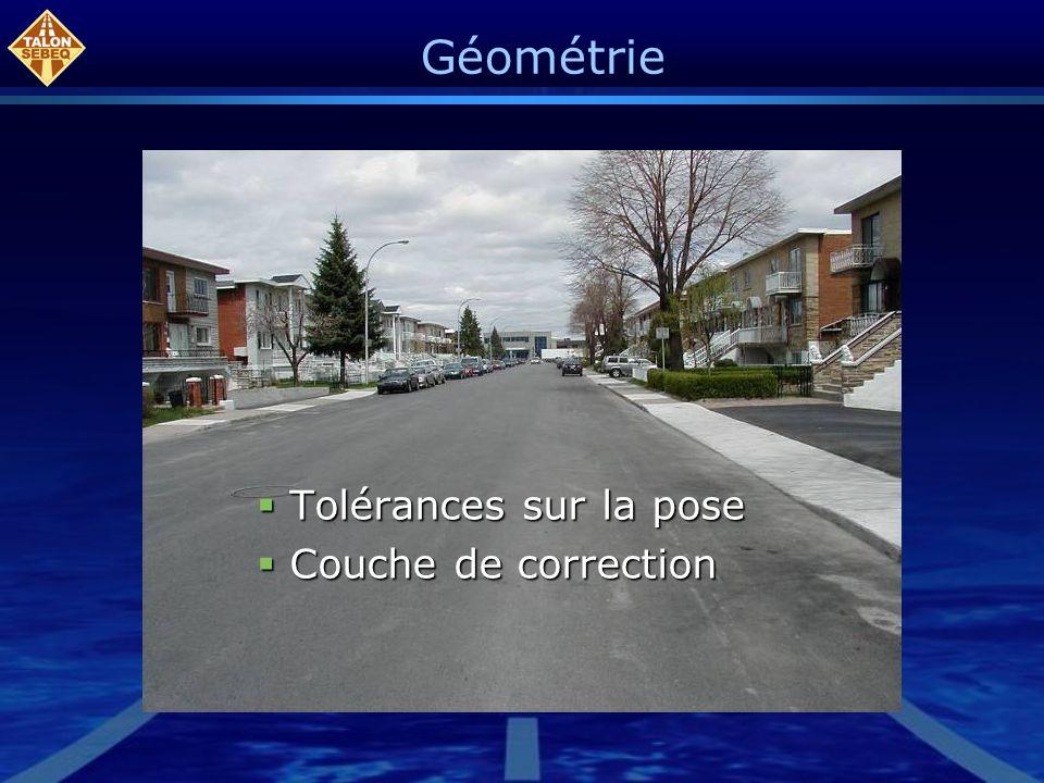 Géométrie Tolérances sur la pose Couche de correction