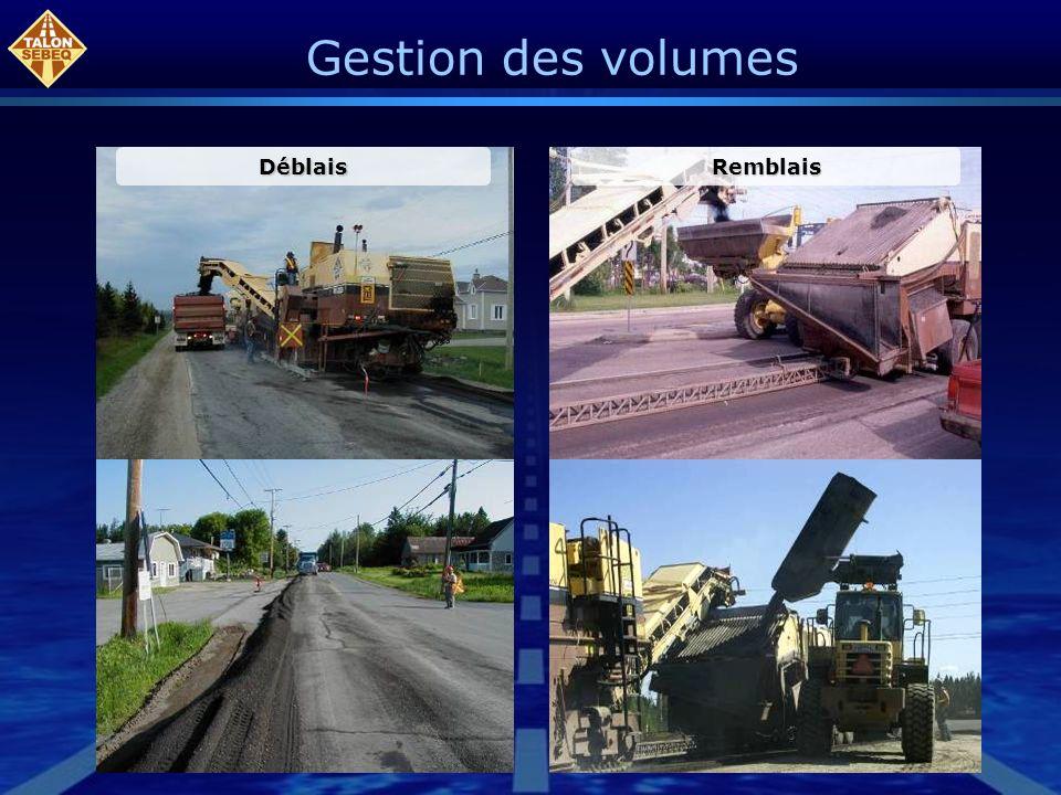 Gestion des volumes Déblais Remblais