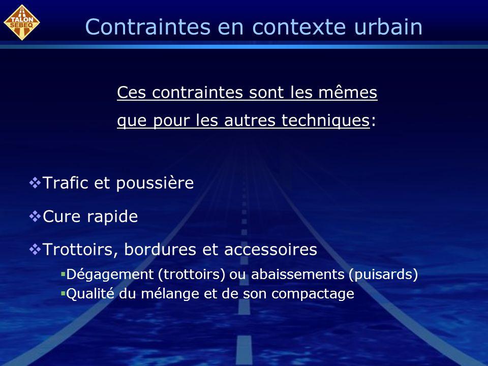 Contraintes en contexte urbain