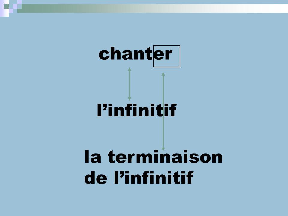 chanter l'infinitif la terminaison de l'infinitif