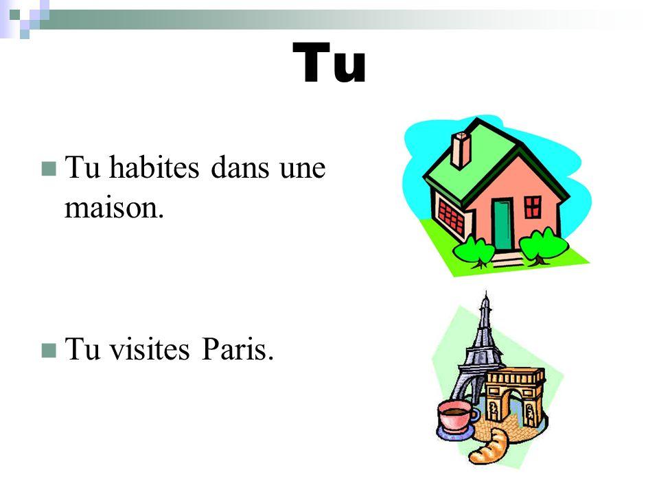 Tu Tu habites dans une maison. Tu visites Paris.