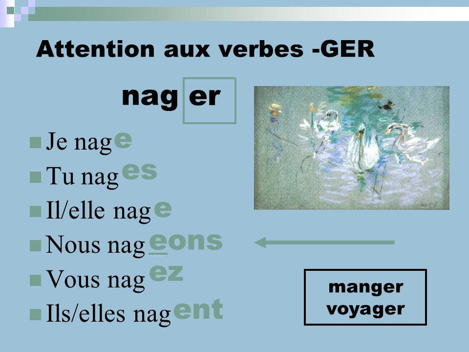 Attention aux verbes -GER