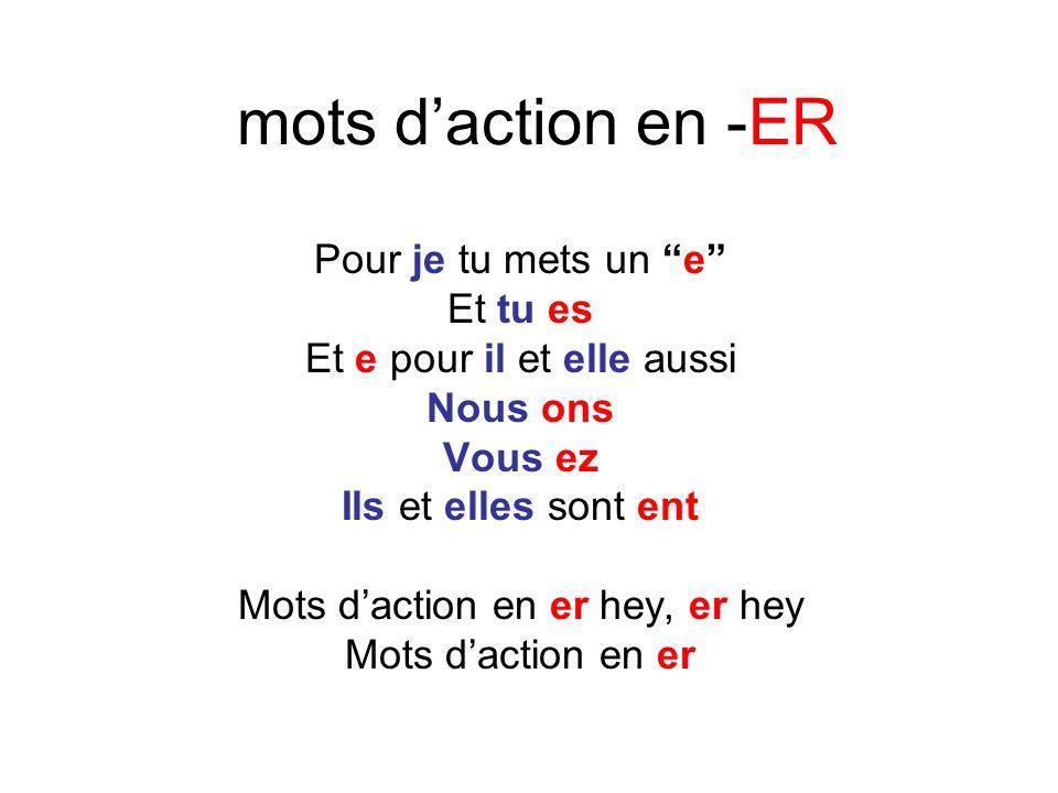mots d'action en -ER Pour je tu mets un e Et tu es