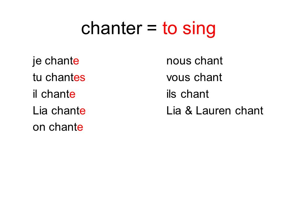 chanter = to sing je chante nous chant tu chantes vous chant