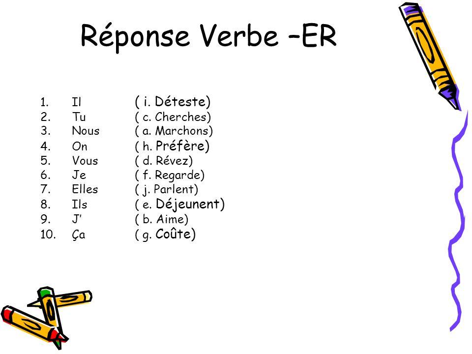 Réponse Verbe –ER Il ( i. Déteste) Tu ( c. Cherches)