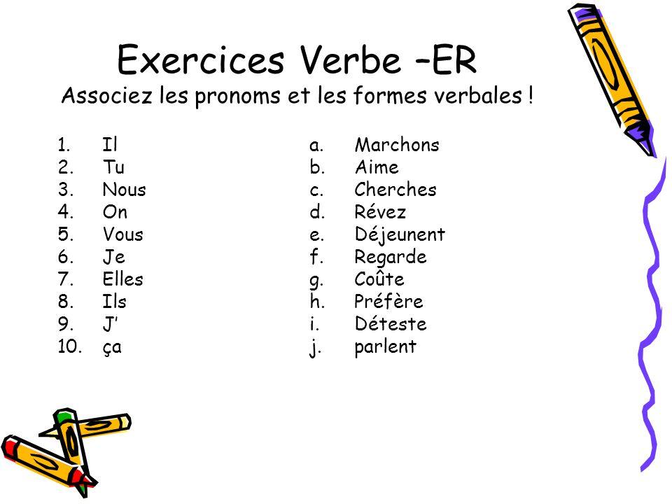 Exercices Verbe –ER Associez les pronoms et les formes verbales !