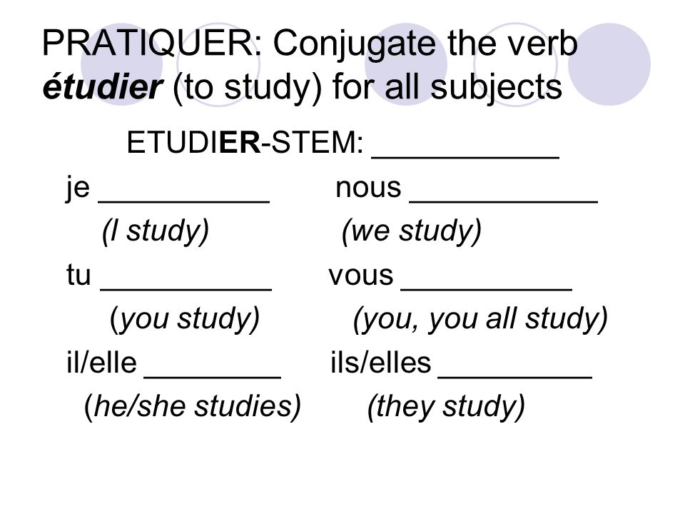 PRATIQUER: Conjugate the verb étudier (to study) for all subjects