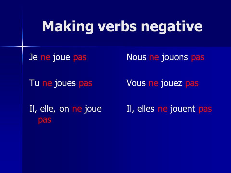 Making verbs negative Je ne joue pas Tu ne joues pas