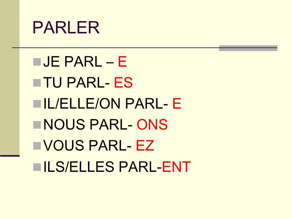 PARLER JE PARL – E TU PARL- ES IL/ELLE/ON PARL- E NOUS PARL- ONS