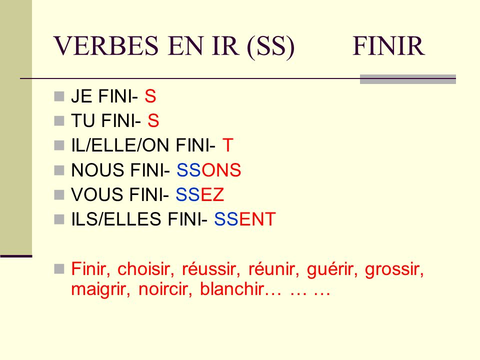 VERBES EN IR (SS) FINIR JE FINI- S TU FINI- S IL/ELLE/ON FINI- T