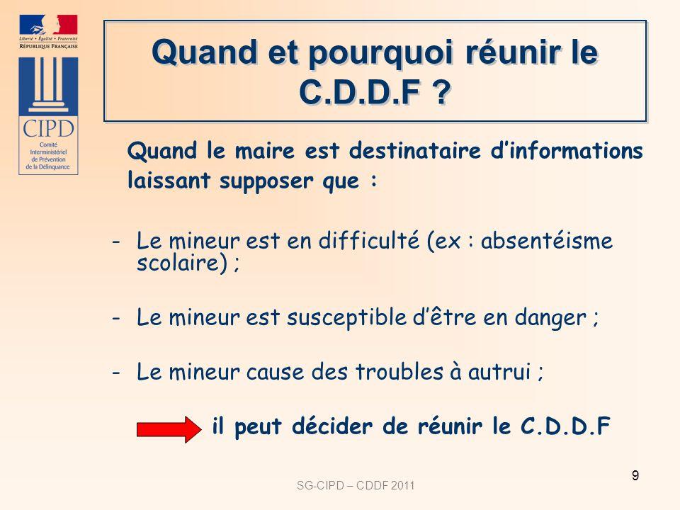 Quand et pourquoi réunir le C.D.D.F