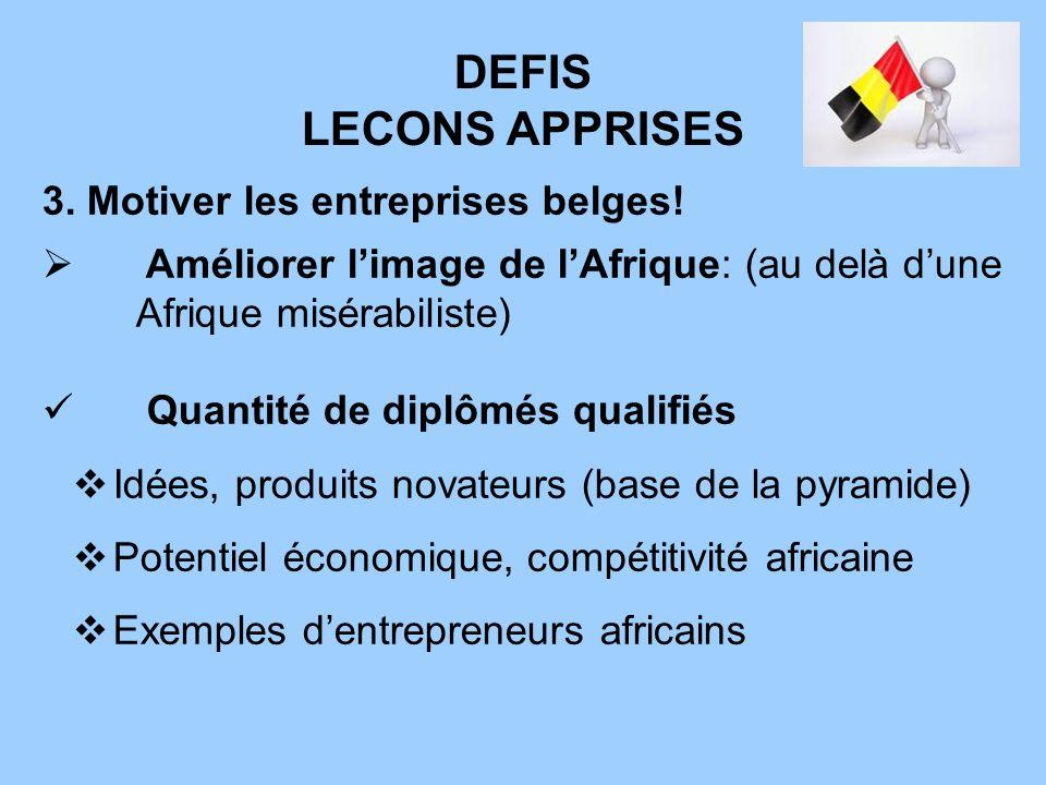 DEFIS LECONS APPRISES 3. Motiver les entreprises belges!