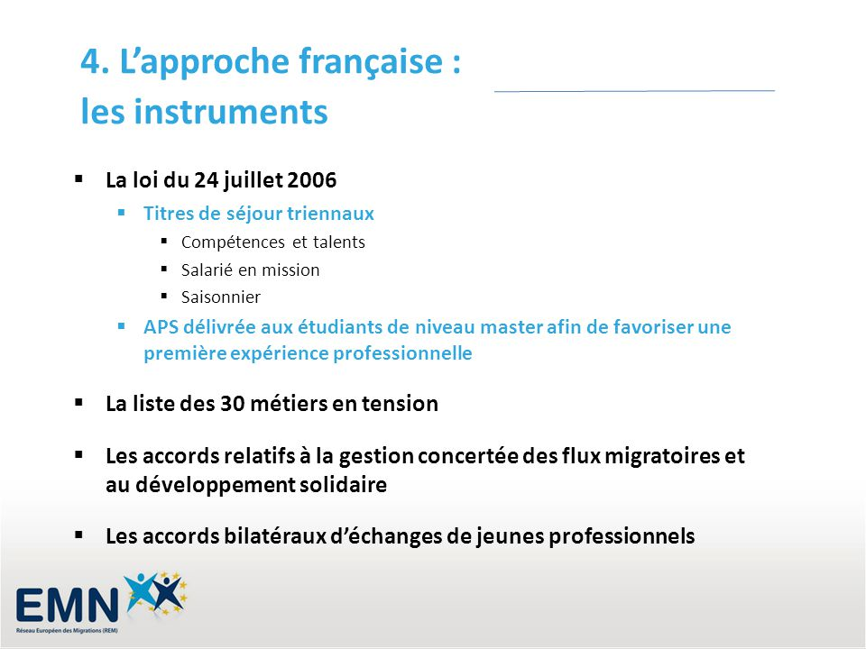 4. L'approche française : les instruments