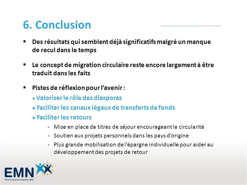 6. Conclusion Des résultats qui semblent déjà significatifs malgré un manque de recul dans le temps.