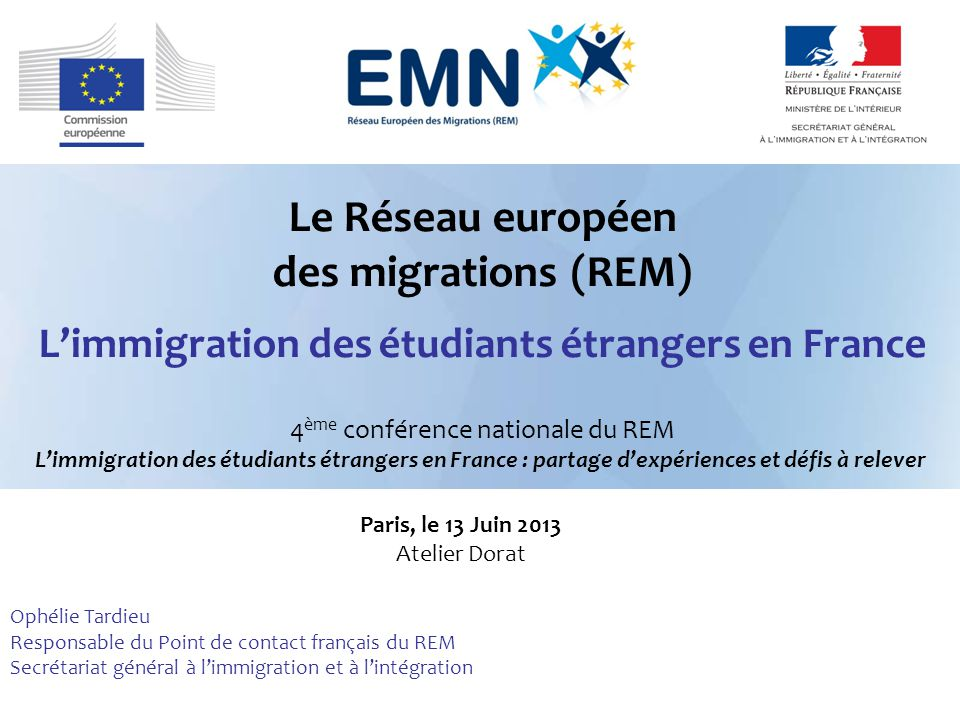 Le r seau europ en des migrations rem l immigration des - Office francais de l immigration et de l integration paris ...
