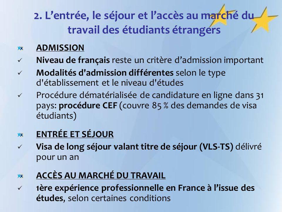 2. L'entrée, le séjour et l'accès au marché du travail des étudiants étrangers